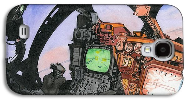 Aviator Drawings Galaxy S4 Cases - A-6 Cockpit Galaxy S4 Case by Richard Schmidt