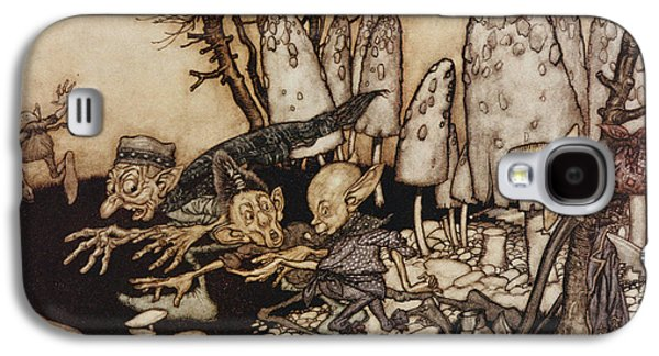 Fantasy Photographs Galaxy S4 Cases - A Band Of Workmen, Who Were Sawing Down A Toadstool, Rushed Away, Leaving Their Tools Galaxy S4 Case by Arthur Rackham