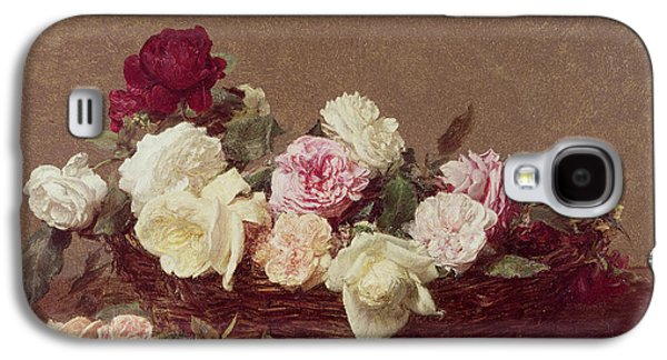 Basket Galaxy S4 Cases - A Basket of Roses Galaxy S4 Case by Ignace Henri Jean Fantin-Latour
