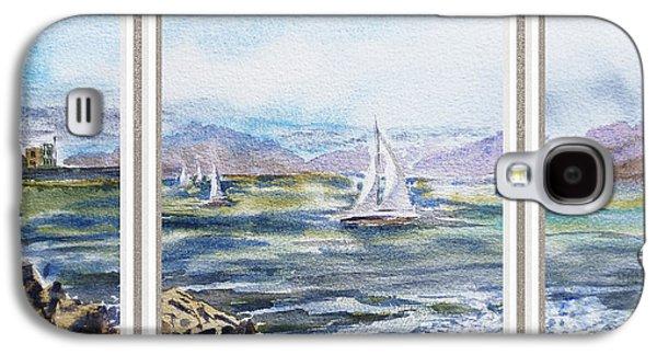 Sailboat Ocean Paintings Galaxy S4 Cases - A Bay View Window Rough Waves Galaxy S4 Case by Irina Sztukowski