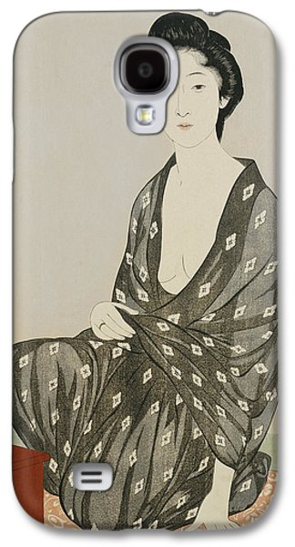 Woman In A Dress Galaxy S4 Cases - A beauty in a black kimono Galaxy S4 Case by Hashiguchi