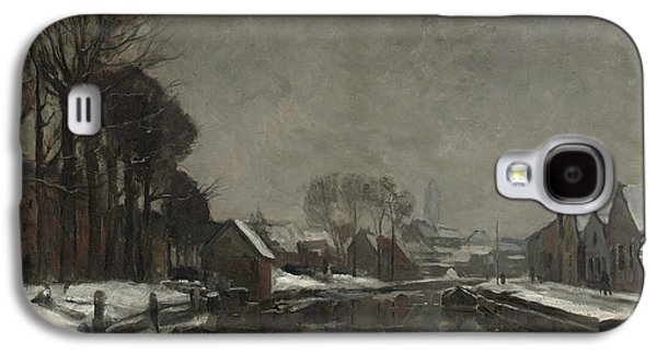 Snow-covered Landscape Galaxy S4 Cases - A Belgian Town in Winter Galaxy S4 Case by Albert Baertsoen