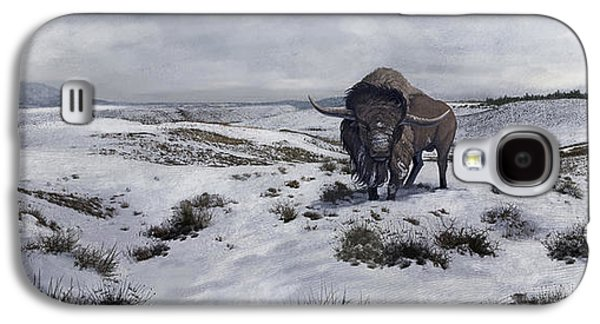 Bison Digital Art Galaxy S4 Cases - A Bison Latifrons In A Winter Landscape Galaxy S4 Case by Roman Garcia Mora