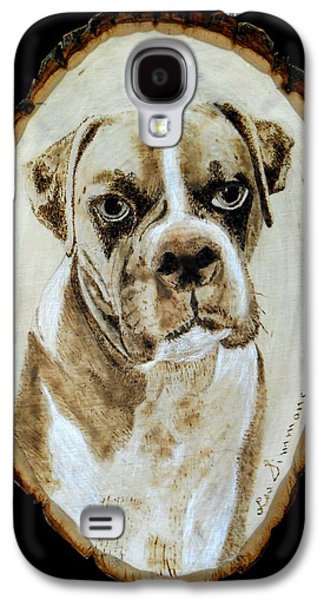 Boxer Pyrography Galaxy S4 Cases - A Boxer Galaxy S4 Case by H Leslie Simmons