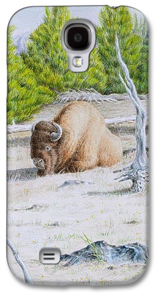 Park Scene Paintings Galaxy S4 Cases - A Buffalo Sits in Yellowstone Galaxy S4 Case by Michele Myers