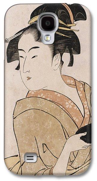 Half-length Galaxy S4 Cases - A Bust Portrait of the Waitress Okita of the Naniwaya Teahouse Galaxy S4 Case by Kitagawa Utamaro