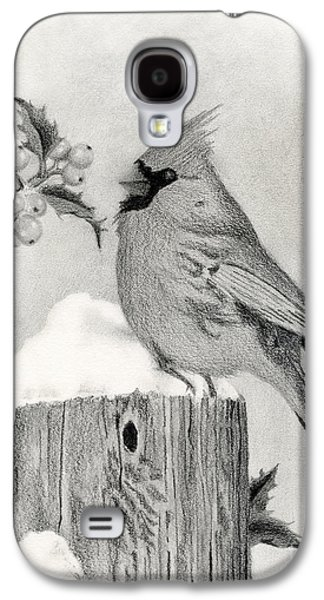 Drawing Galaxy S4 Cases - A Cardinal And Holly Galaxy S4 Case by Sarah Batalka