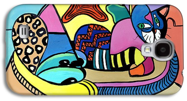 Dogs Digital Art Galaxy S4 Cases - A Cat Named Picasso Galaxy S4 Case by Anthony Falbo