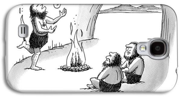 A Caveman Is Juggling Sticks Of Fire While Two Galaxy S4 Case by Joe Dator