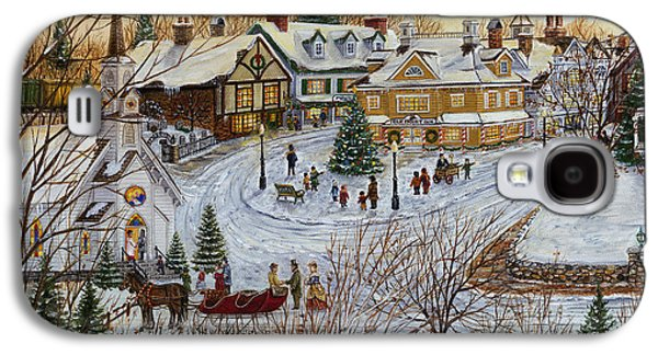 Snow Scene Landscape Paintings Galaxy S4 Cases - A Christmas Village Galaxy S4 Case by Doug Kreuger