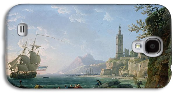 Sailboats In Harbor Galaxy S4 Cases - A Coastal Mediterranean Landscape Galaxy S4 Case by Claude Joseph Vernet