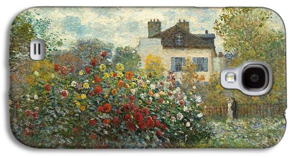 Sprint Galaxy S4 Cases - A Corner of the Garden with Dahlias Galaxy S4 Case by Claude Monet