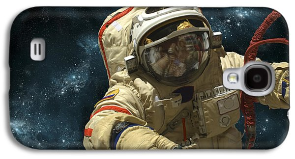 A Cosmonaut Against A Background Galaxy S4 Case by Marc Ward
