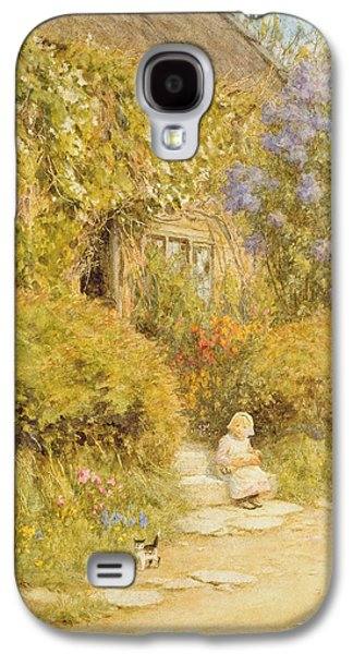 Somerset Galaxy S4 Cases - A Cottage Near Crewkerne Wc On Paper Galaxy S4 Case by Helen Allingham