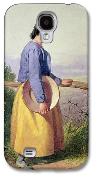 Victorian Photographs Galaxy S4 Cases - A Country Girl Standing By A Fence Galaxy S4 Case by William Lee