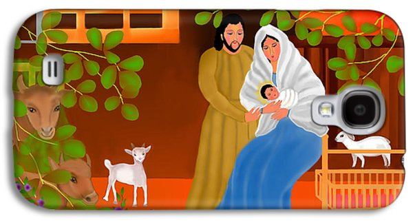 Adoration Of The Shepherds; Shepherd; Infant Jesus Christ; Baby; Child; Joseph; Virgin Mary; Madonna; Holy Family; Stable; Manger; Ox; Oxen; Straw Galaxy S4 Cases - A Cradle In Bethlehem Galaxy S4 Case by Latha Gokuldas Panicker