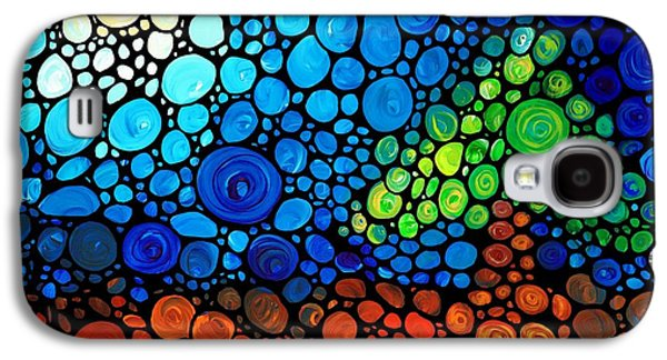 Sunset Abstract Galaxy S4 Cases - A Day To Remember - Mosaic Landscape by Sharon Cummings Galaxy S4 Case by Sharon Cummings