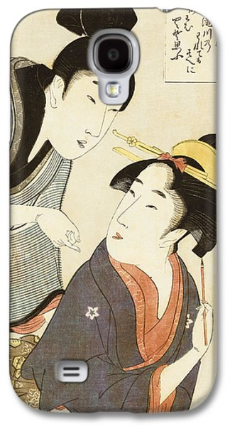 Portraiture Galaxy S4 Cases - A Double Half Length Portrait of a Beauty and her Admirer  Galaxy S4 Case by Kitagawa Utamaro
