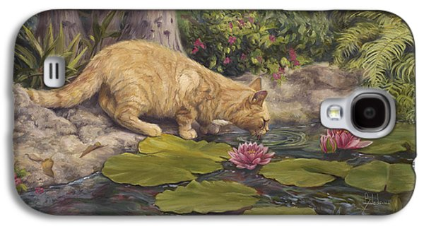 Orange Tabby Paintings Galaxy S4 Cases - A Drink At The Pond Galaxy S4 Case by Lucie Bilodeau