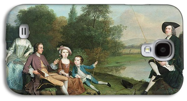 Pastimes Galaxy S4 Cases - A Family Of Anglers, 1749 Oil On Canvas Galaxy S4 Case by Arthur Devis
