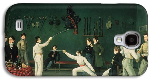 Social Galaxy S4 Cases - A Fencing Scene, 1827 Oil On Canvas Galaxy S4 Case by Adolphe Ladurner