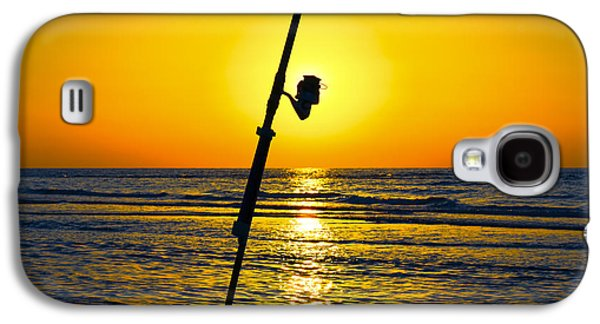 Anticipation Photographs Galaxy S4 Cases - A fishing rod on the shore at sunset  Galaxy S4 Case by Ido Dromi