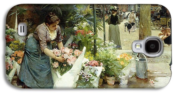 Cut Flowers Galaxy S4 Cases - A Flower Market in Paris Galaxy S4 Case by Louis de Schryver