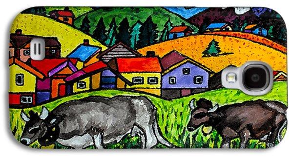 Swiss Drawings Galaxy S4 Cases - A Folksy Cow Hike Galaxy S4 Case by Monica Engeler