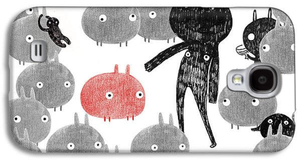 Person Mixed Media Galaxy S4 Cases - A friendly visit to the bunnyland Galaxy S4 Case by Yoyo Zhao