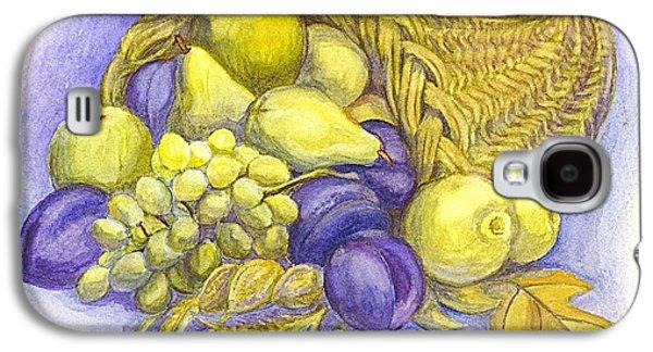Plum Drawings Galaxy S4 Cases - A Fruitful Horn of Plenty Galaxy S4 Case by Carol Wisniewski