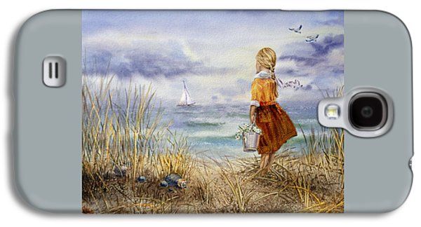 Watercolor Paintings Galaxy S4 Cases - A Girl And The Ocean Galaxy S4 Case by Irina Sztukowski