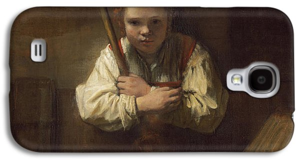 Youthful Galaxy S4 Cases - A Girl with a Broom Galaxy S4 Case by Rembrandt