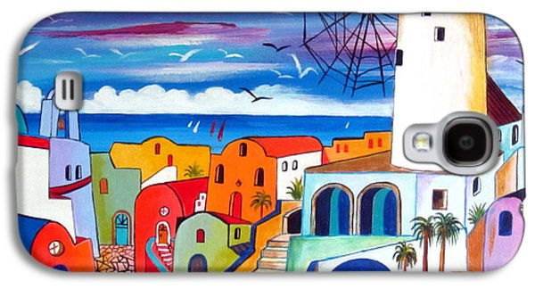 A Greek Mill And The Colors Of Oia Santorini  Galaxy S4 Case by Roberto Gagliardi
