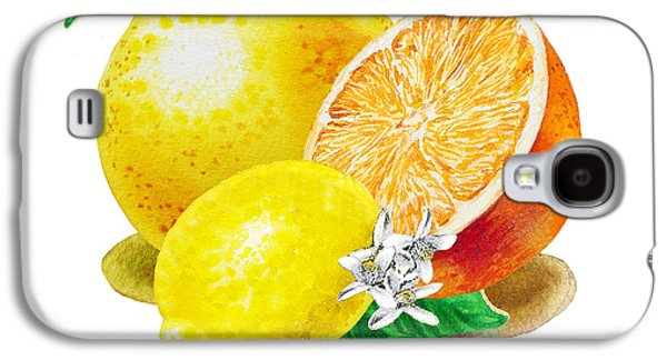 A Happy Citrus Bunch Grapefruit Lemon Orange Galaxy S4 Case by Irina Sztukowski