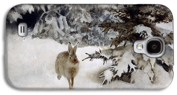 Freedom Paintings Galaxy S4 Cases - A Hare in the Snow Galaxy S4 Case by Bruno Andreas Liljefors