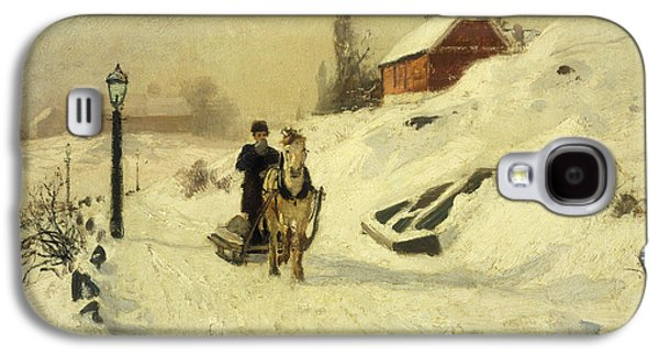 Slush Galaxy S4 Cases - A Horse Drawn Sleigh in a Winter Landscape Galaxy S4 Case by Fritz Thaulow
