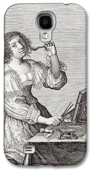 Seventeenth Century Galaxy S4 Cases - A Lady At Her Toilette, After A 17th Century Engraving By Le Blond.  From Illustrierte Galaxy S4 Case by Bridgeman Images