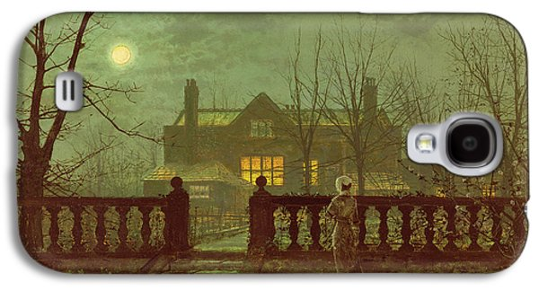 Haunted House Paintings Galaxy S4 Cases - A Lady In A Garden By Moonlight Galaxy S4 Case by John Atkinson Grimshaw