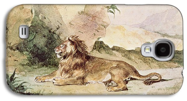 Delacroix Galaxy S4 Cases - A Lion in the Desert Galaxy S4 Case by Ferdinand Victor Eugene Delacroix