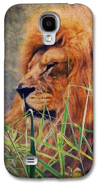 Animals Mixed Media Galaxy S4 Cases - A Lion Portrait Galaxy S4 Case by Angela Doelling AD DESIGN Photo and PhotoArt