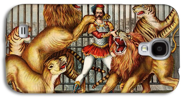 Cage Paintings Galaxy S4 Cases - a Lion tamer in cage with two lions Galaxy S4 Case by Celestial Images