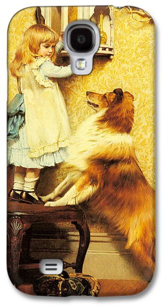 Puppies Digital Art Galaxy S4 Cases - A Little Girl and her Sheltie Galaxy S4 Case by Charles Burton Barber