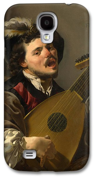 Lute Paintings Galaxy S4 Cases - A Man playing a Lute Galaxy S4 Case by Hendrick ter Brugghen