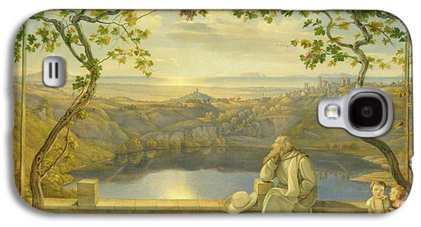 A Monk On A Terrace At The Nemi Lake Galaxy S4 Case by Joachim Faber