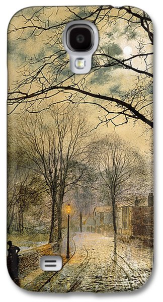 Night Lamp Paintings Galaxy S4 Cases - A Moonlit Stroll Bonchurch Isle of Wight Galaxy S4 Case by John Atkinson Grimshaw