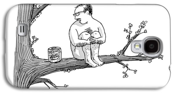 A Naked Man Sitting On A Tree Branch Is Talking Galaxy S4 Case by Joe Dator