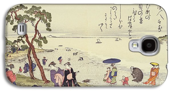 Beach Landscape Galaxy S4 Cases - A Page from the Gifts of the Ebb Tide Galaxy S4 Case by Kitagawa Utamaro