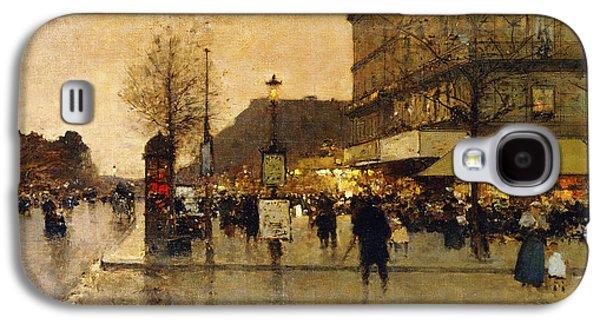 19th Century Galaxy S4 Cases - A Parisian Street Scene Galaxy S4 Case by Eugene Galien-Laloue