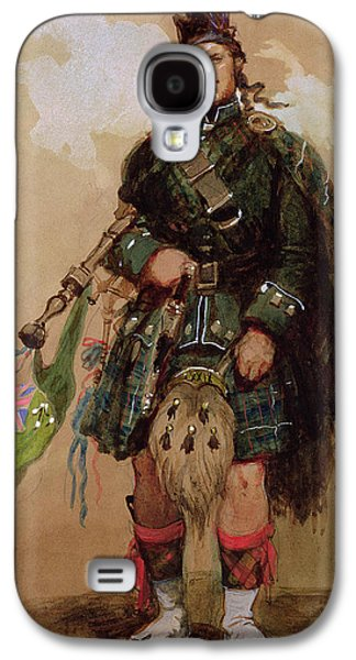Pride Paintings Galaxy S4 Cases - A Piper of the 79th Highlanders at Chobham Camp Galaxy S4 Case by Eugene-Louis Lami