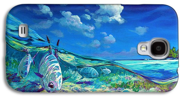 Sportfishing Galaxy S4 Cases - A Place Id Rather Be - Caribbean Permit Fly Fishing Painting Galaxy S4 Case by Mike Savlen